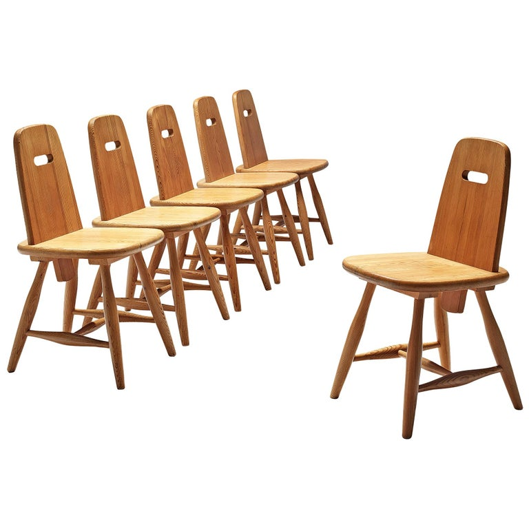 Finnish Set of Six Dining Chairs in Solid Pine by Eero Aarnio For Sale