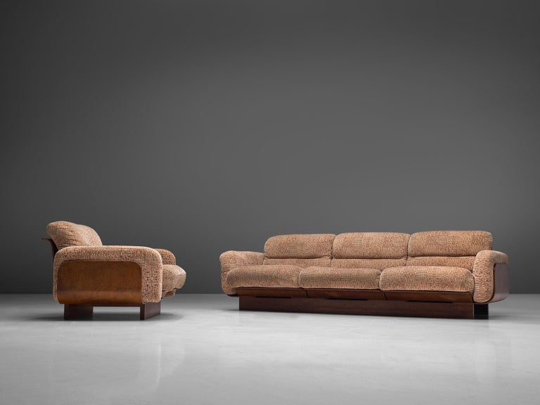 Finnish Sofa in Teak and Patterned Upholstery For Sale 5