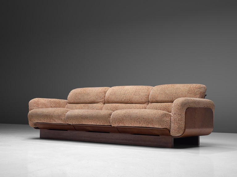 Finnish Sofa in Teak and Patterned Upholstery In Good Condition For Sale In Waalwijk, NL