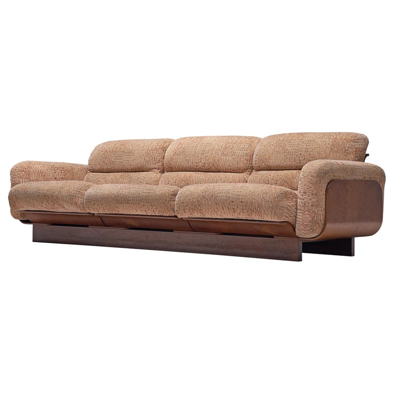 Finnish Sofa in Teak and Patterned Upholstery For Sale