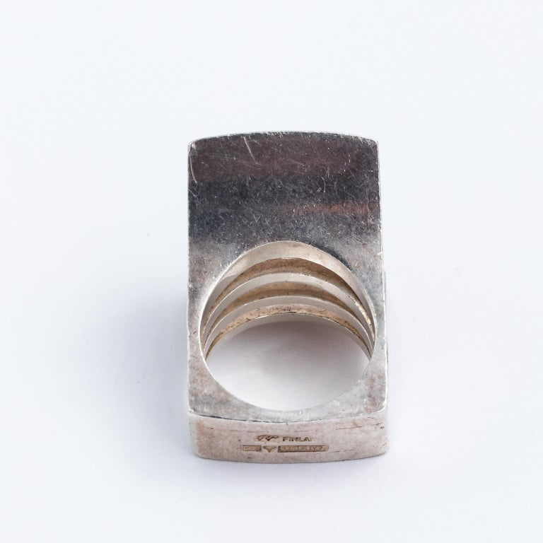 Rare heavy sterling silver ring by finnish designer Pekka Piekainen