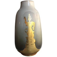 Finzi, Porcellani Vase 1950 Porcellan Gold, Italy
