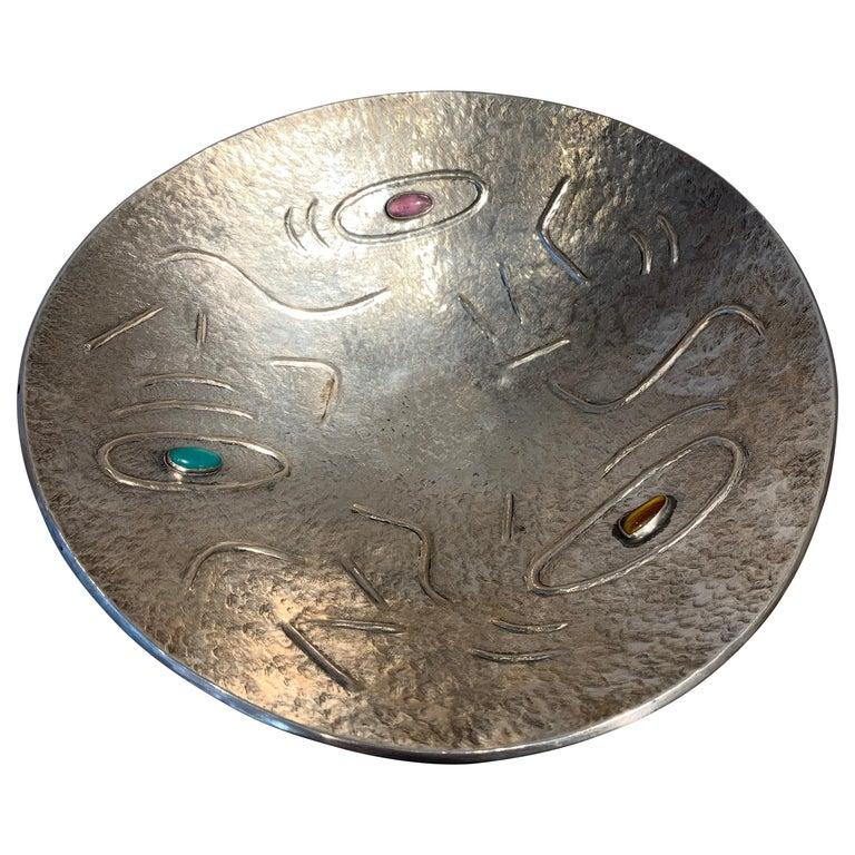 Finzi Silver Bowl with Stones Inserted, circa 1950s