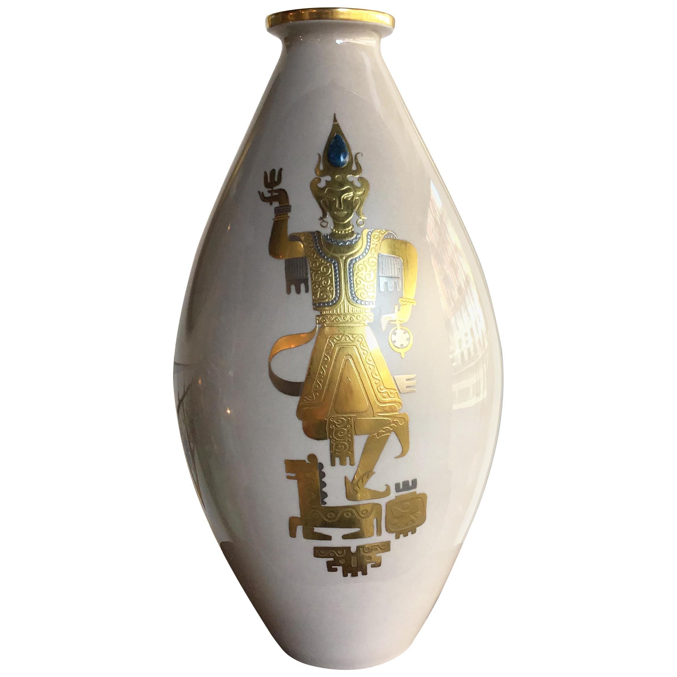Finzi Vase 1950 Porcelain Gold, Italy