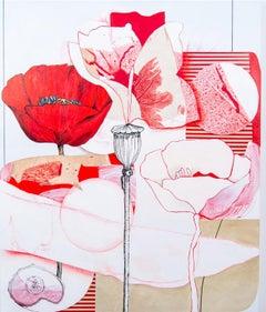 Carmine - lively, narrative, overlapping botanicals, acrylic, oil on canvas
