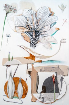 Copper - lively, narrative, overlapping botanicals, acrylic, oil on canvas