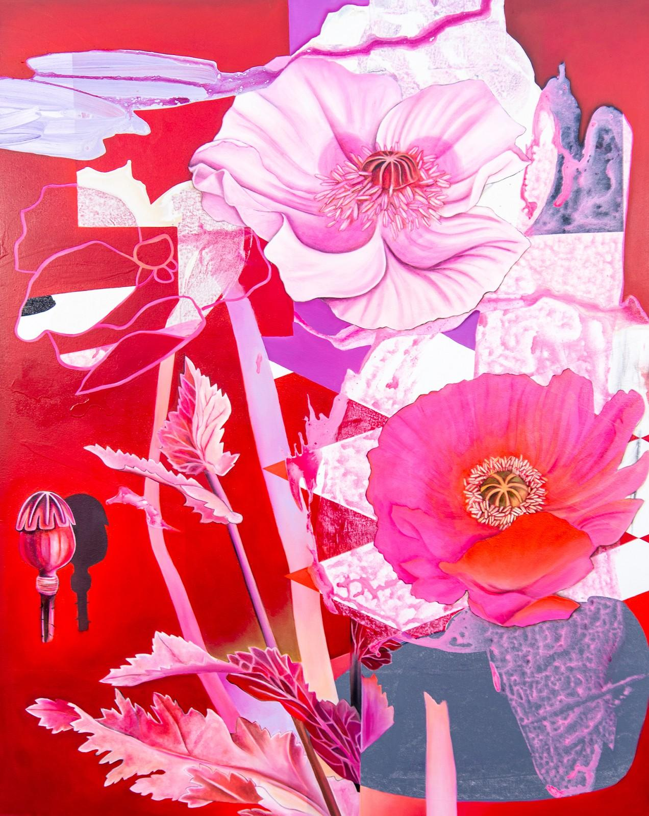 Dream Flower - lively, fuscia, overlapping botanicals, acrylic, oil on canvas