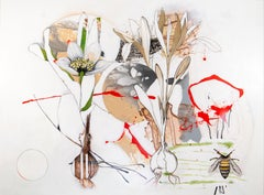 One Long Day - lively, narrative, overlapping botanicals, acrylic, oil on canvas