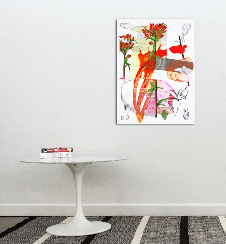 Scarlet Cup - Layered botanicals & shapes in red, pink and orange - Painting by Fiona Ackerman