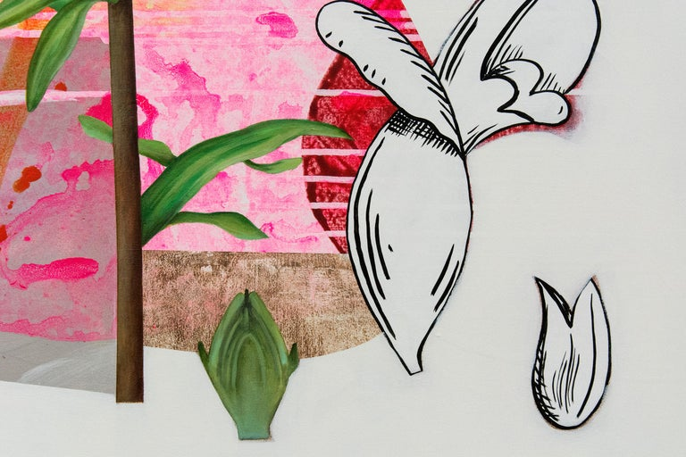 Scarlet Cup - Layered botanicals & shapes in red, pink and orange - Beige Still-Life Painting by Fiona Ackerman