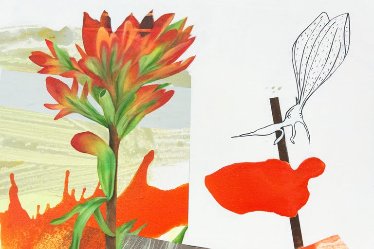 Layered botanical imagery and painterly passages in red, pink and orange form a playful narrative in this acrylic painting by Fiona Ackerman. The painting is part of a series inspired by the narratives and botanical drawings of women naturalists