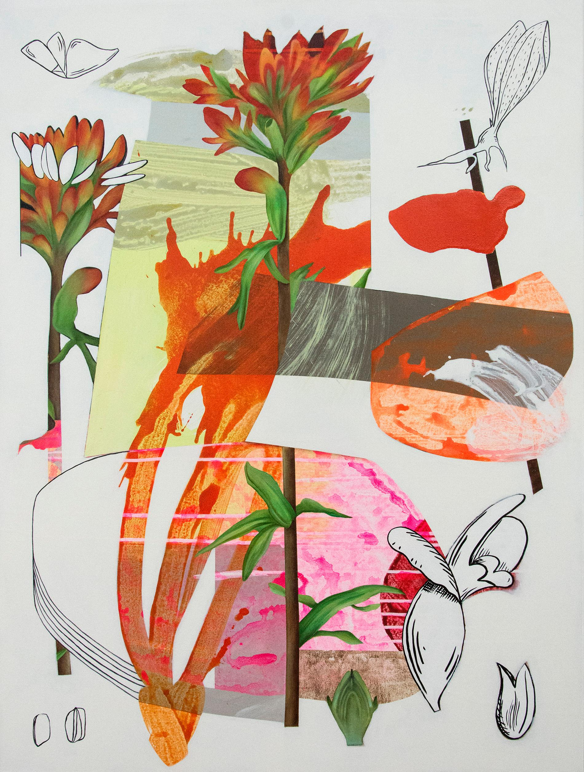 Scarlet Cup - Layered botanicals & shapes in red, pink and orange