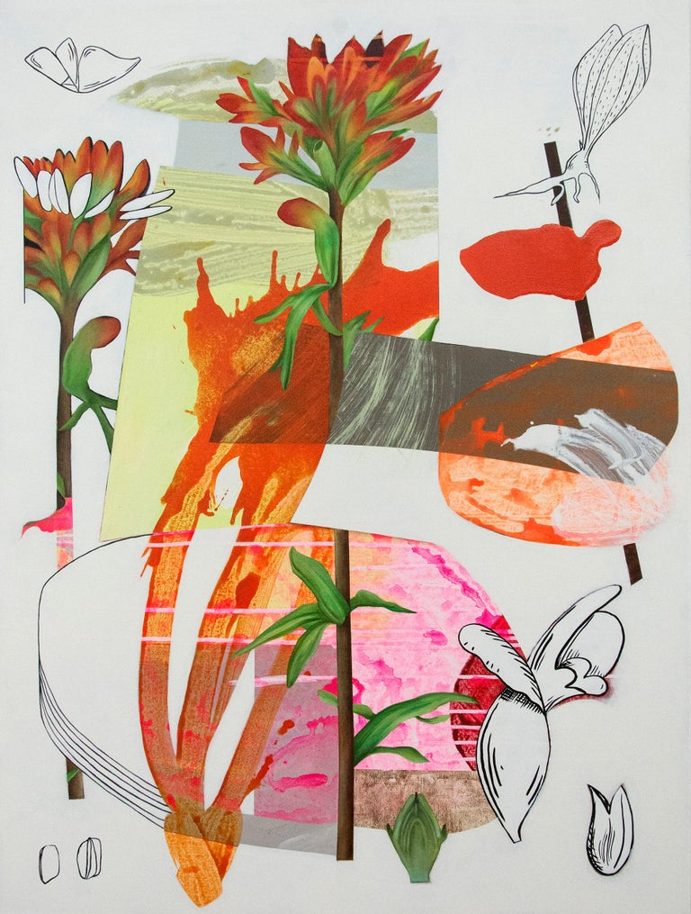 Fiona Ackerman Still-Life Painting - Scarlet Cup - Layered botanicals & shapes in red, pink and orange