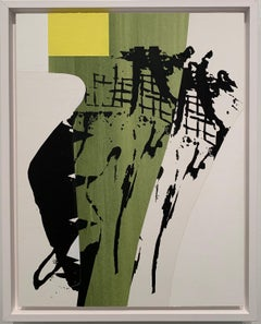 """Tree,"" Contemporary, Abstract, Screen print, Green, Yellow, and Black, Painting"