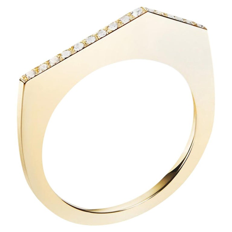 Fiona Ring, Architectural Ring in Yellow Gold with Diamonds For Sale