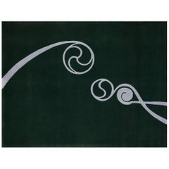 """Foinse"" Limited Edition Mweelrea Green & Owl Grey pure Irish wool rug by Rhyme"