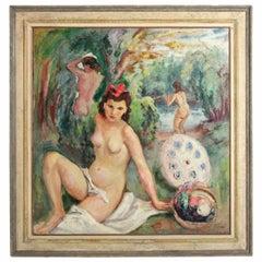 Post- Impressionist Venetian Nude Painting the Bathing Nymphs Signed Seibezzi