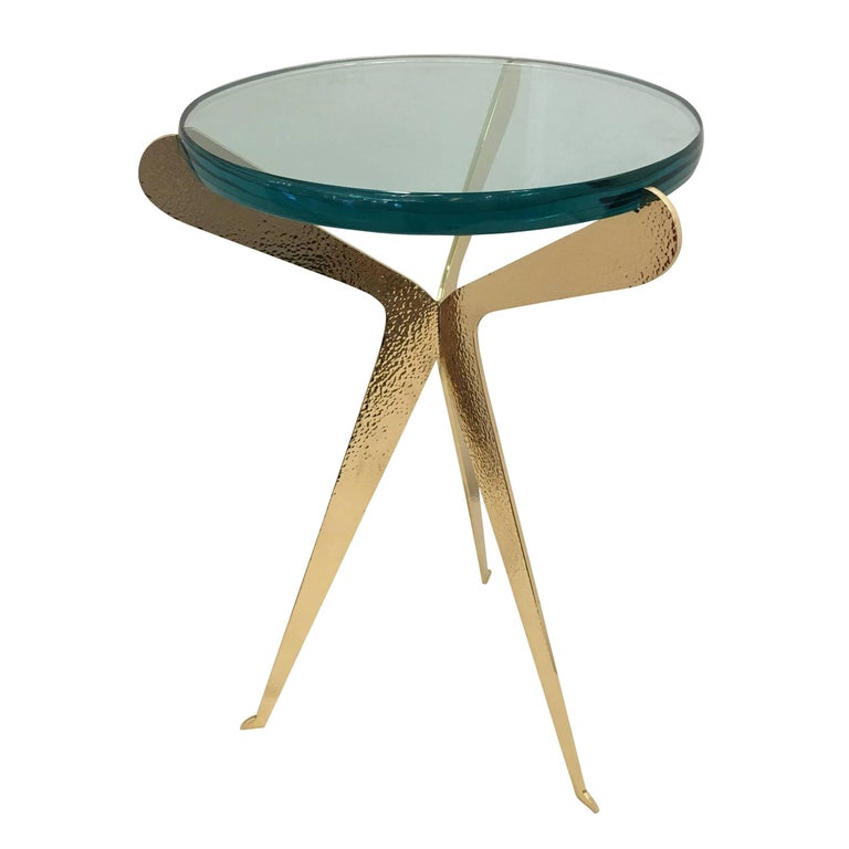"""'Fiore"""" Side Table-Hammered Brass Version by Gaspare Asaro for FormA"""