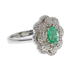 """Fiore"" White Diamond and Emerald Ring in 18 Karat White Gold"