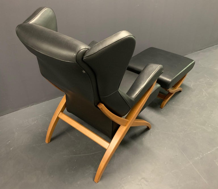 Mid-Century Modern Fiorenza Armchair and Stool by Franco Albini for Arflex For Sale