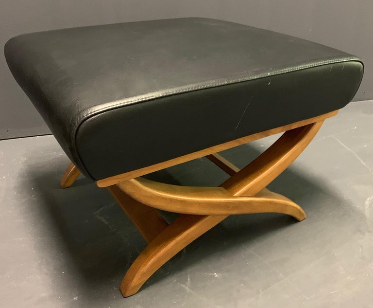 Leather Fiorenza Armchair and Stool by Franco Albini for Arflex For Sale