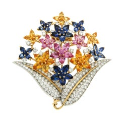 Fiori di Lucia Colored Sapphires Diamond Gold Platinum Brooch