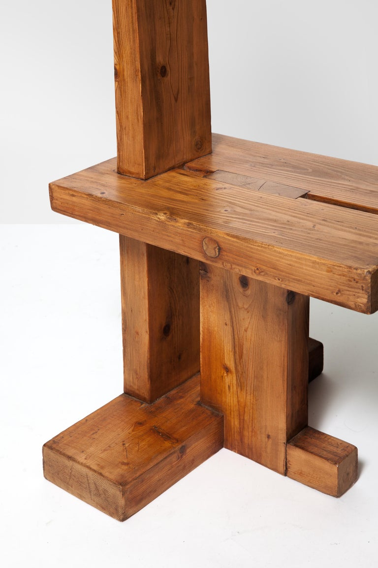 Brutalist Fir Wood Pair of Chairs by Dominique Zimbacca, 1970 For Sale