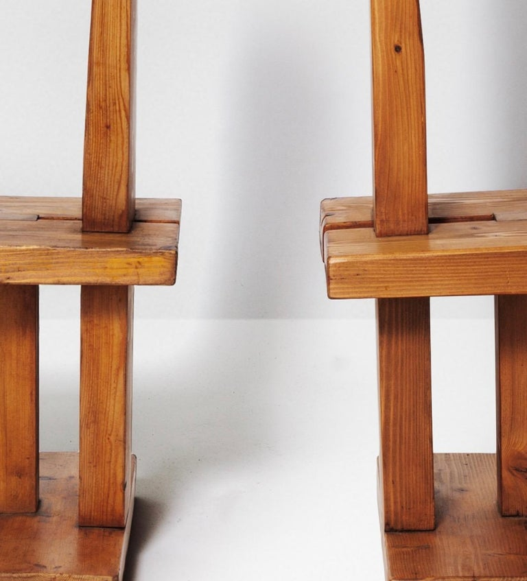 French Fir Wood Pair of Chairs by Dominique Zimbacca, 1970 For Sale
