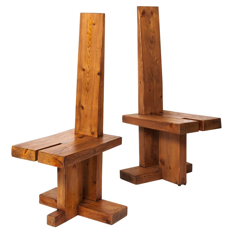 Fir Wood Pair of Chairs by Dominique Zimbacca, 1970 For Sale