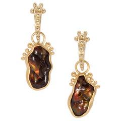 Fire Agate Tip Toe Drop Earrings in 22 Karat Gold