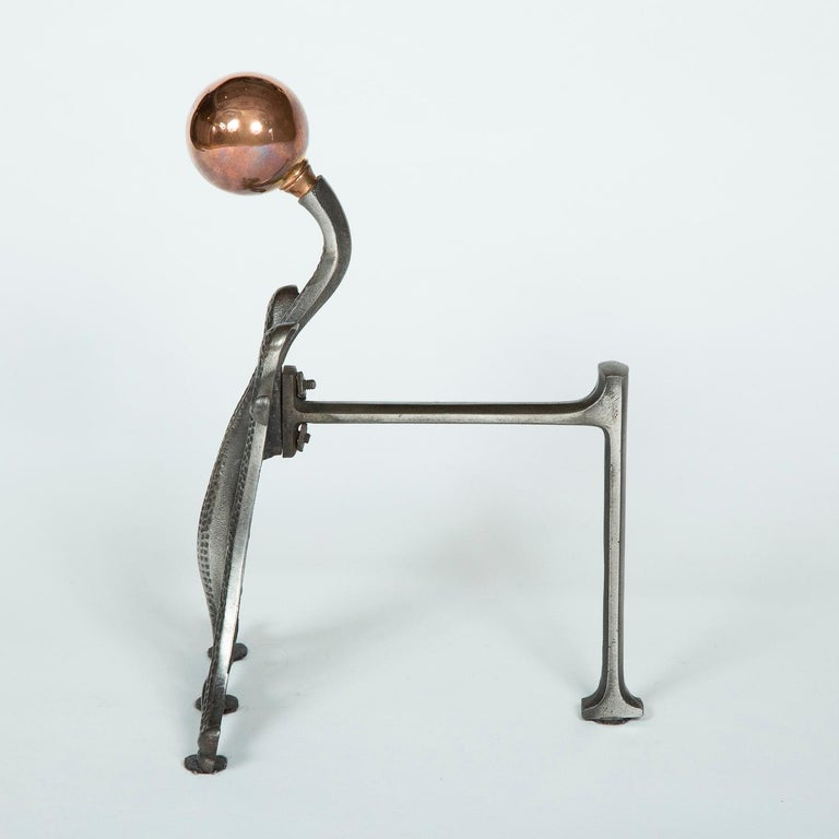 Fire Dogs with Copper Ball Finials In Good Condition For Sale In London, GB