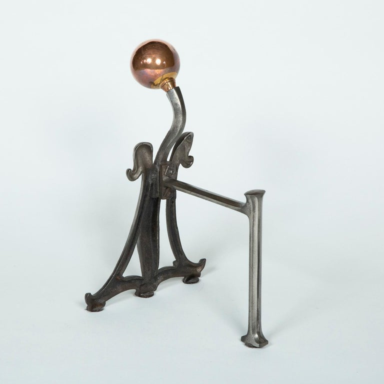 20th Century Fire Dogs with Copper Ball Finials For Sale