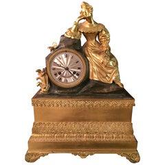 Fire-Gilded 19th Century Empire Pendule Paris Bronze