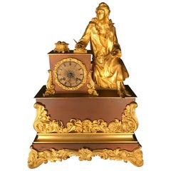 Fire-Gilded Pendule Clock 1870 Bronze Sitting Poet Fine Cherviet