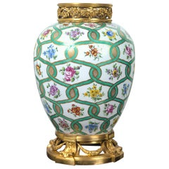 Fire Gilt Bronze Mounted Sevres Marked Large Jar