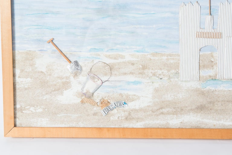 Helga Brinitzer signed collage of Fire Island sand castle on the beach. Wood framed.