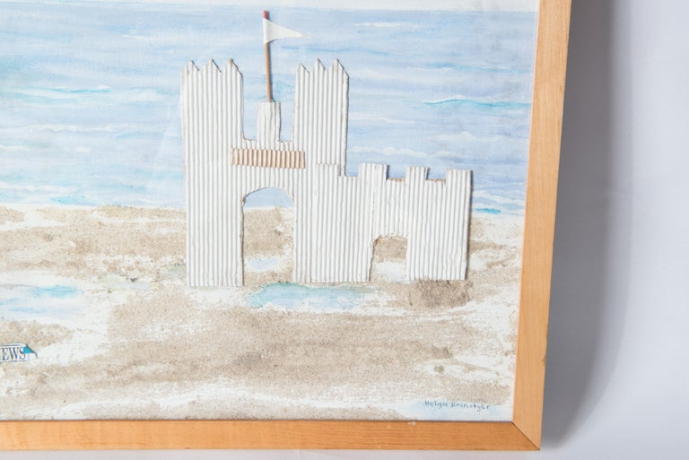American Fire Island, Sand Castle on the Beach Collage, Signed For Sale
