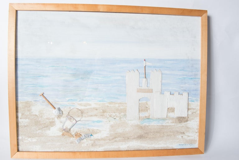 Fire Island, Sand Castle on the Beach Collage, Signed In Good Condition For Sale In Stamford, CT
