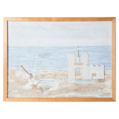 Fire Island, Sand Castle on the Beach Collage, Signed
