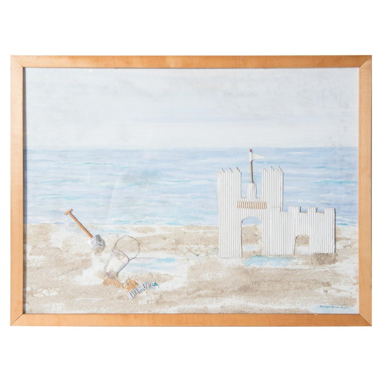 Fire Island, Sand Castle on the Beach Collage, Signed For Sale