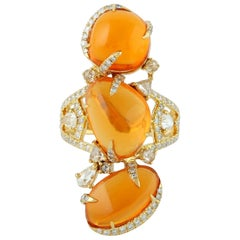 Fire Opal 18 Karat Gold Diamond Ring