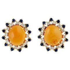 Fire Opal 18 Karat Gold Diamond Stud Earrings