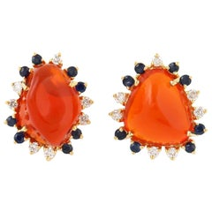 Fire opal 18 Karat Gold Diamond Stud Earrings