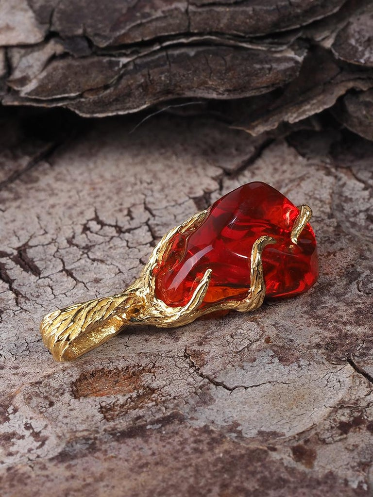 Fire Opal 18K Yellow Gold Pendant Fiery Red Natural Mexican Gem Healing Power For Sale 5