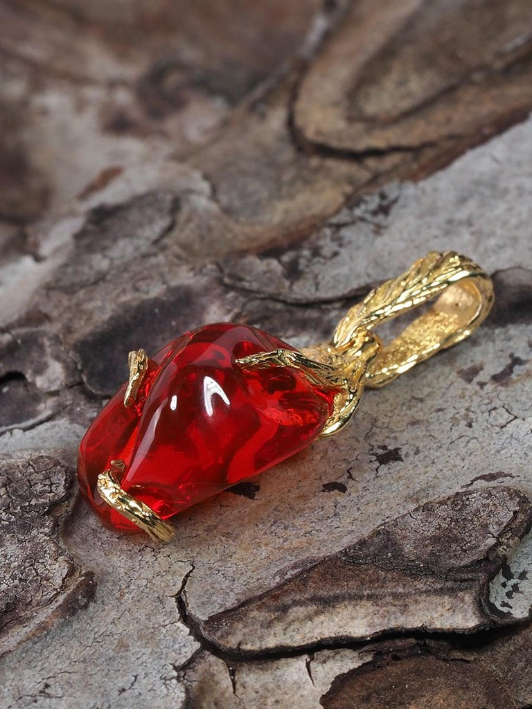 Fire Opal 18K Yellow Gold Pendant Fiery Red Natural Mexican Gem Healing Power For Sale 6