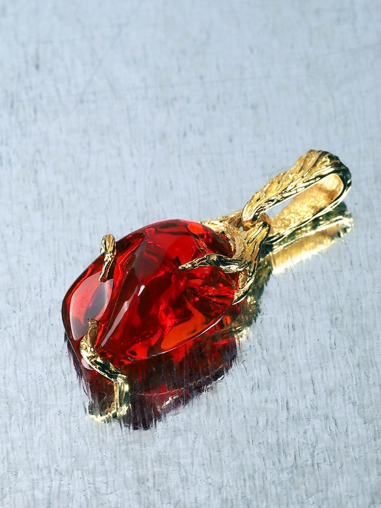 Uncut Fire Opal 18K Yellow Gold Pendant Fiery Red Natural Mexican Gem Healing Power For Sale