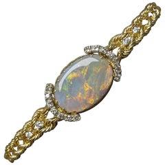 Fire Opal and Diamond 14 Karat Gold Rope Bracelet