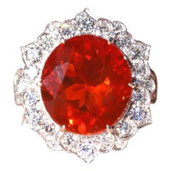 Fire Opal and Diamond 18 Karat White Gold Cluster Ring