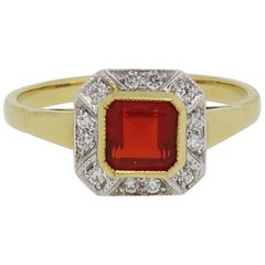 Fire Opal and Diamond Art Deco Style Cluster Ring 18 Karat Yellow and White Gold