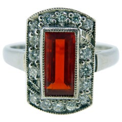 Fire Opal and Diamond Cluster Ring, 18 Carat Gold, London, 2010